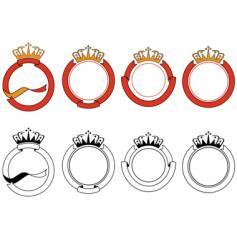 ribbon and crown set vector image
