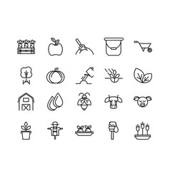 rural agriculture thick line icons set vector image