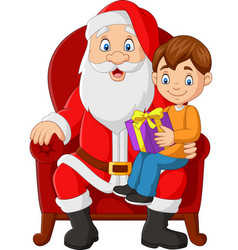 santa claus sitting in chair with a little boy vector image