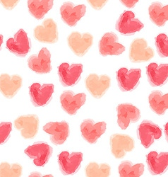 seamless watercolor hearts background vector image