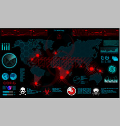 set circle elements in a futuristic hud vector image