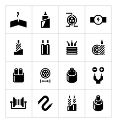 Set icons of cables and wires vector image