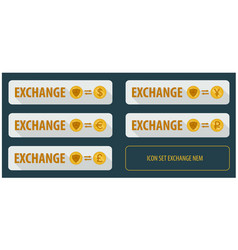 set rectangular horizontal buttons exchange vector image
