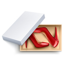 Shoes in box realistic set vector