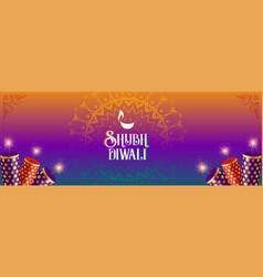Shubh diwali colorful cracker celebration vector