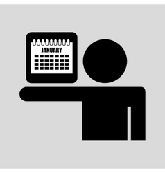 Silhouette man icon calendar social network vector