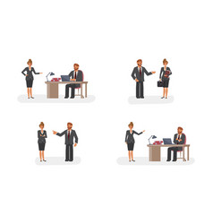 smart businessman and woman character vector image