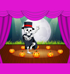 Stage with a halloween party with human skulls vector