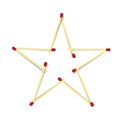 Star Symbol Made from Matches vector image