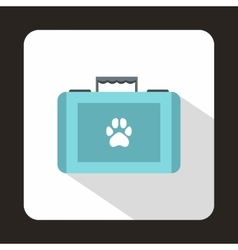 Suitcase for animals icon flat style vector image