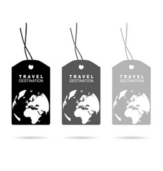 Tag with travel destination on it in black vector
