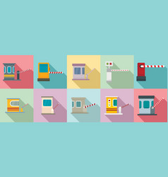 Toll road icons set flat style vector