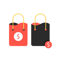 Two shopping bags with dollar sign vector