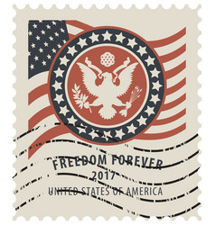 Usa postage stamp with the eagle and american flag vector