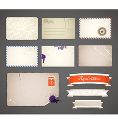 Vintage postcard templates vector