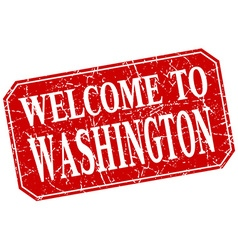 welcome to Washington red square grunge stamp vector image