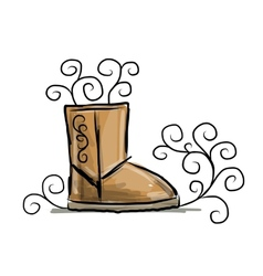 Winter boots ugg sketch for your design vector image