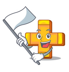 with flag plus sign isolated on the mascot vector image