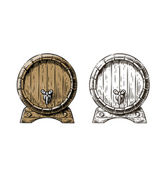 wooden barrel with faucet sketch hand drawn vector image