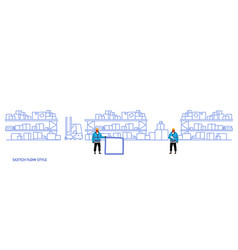 Workers in uniform storage logistic delivery vector