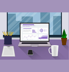 workplace flat style workplace modern design vector image