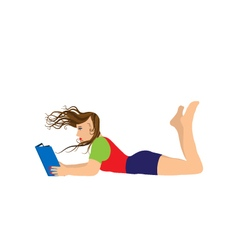 Young woman reading a book vector image