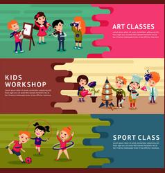 Children hobbies education horizontal banners vector