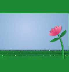 flower and field of grass with blank space paper vector image vector image