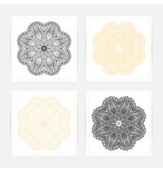 Hand drawn outline round ornament Set of cards vector image vector image