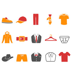 orange red color series men fashion icons set vector image vector image