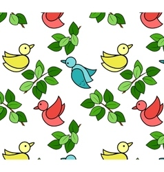 Pattern with birds and leaves vector image