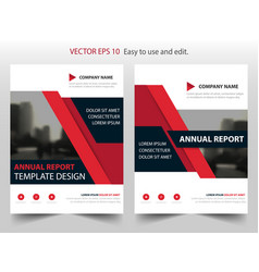 red abstract triangle annual report brochure vector image vector image