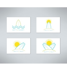 Set of surfing cards logo design made in vector image vector image