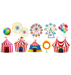 circus tents and ferris wheels vector image vector image