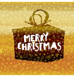Merry christmas lettering on black gift box gold vector