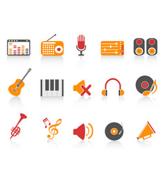 orange red color series music sound equipment vector image vector image