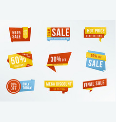 Set of promotional labels with lettering sale vector