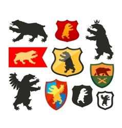 Shield with bear logo Coat of arms vector image