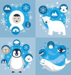 Arctic Characters and Icons Set vector image
