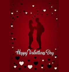 couple silhouette happy valentine day greeting vector image vector image