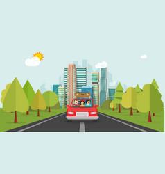 family travel by car flat cartoon style happy vector image