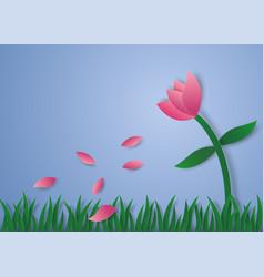 flower petals flying paper art style vector image vector image