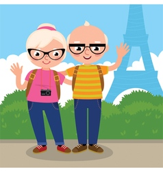 Mature couple travels to Paris vector image vector image