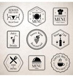 Restaurant menu labels black vector image vector image