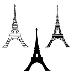 Set Of 3 Black Eiffel Towers in Paris vector image