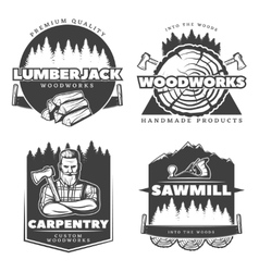 Woodworks Lumberjack Design Elements vector image vector image