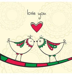 Card with kissing birds in love vector image