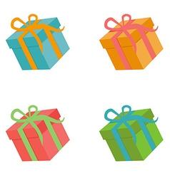 Flat gift box set vector image vector image