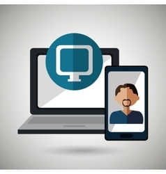 laptop man smartphone web vector image