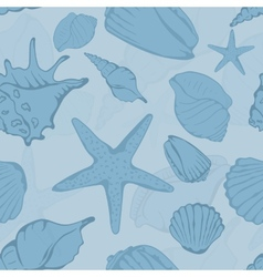 Seamless pattern of hand drawn seashells vector image vector image